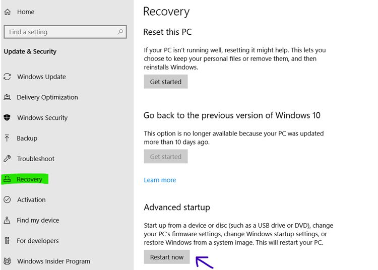 setting windows recovery