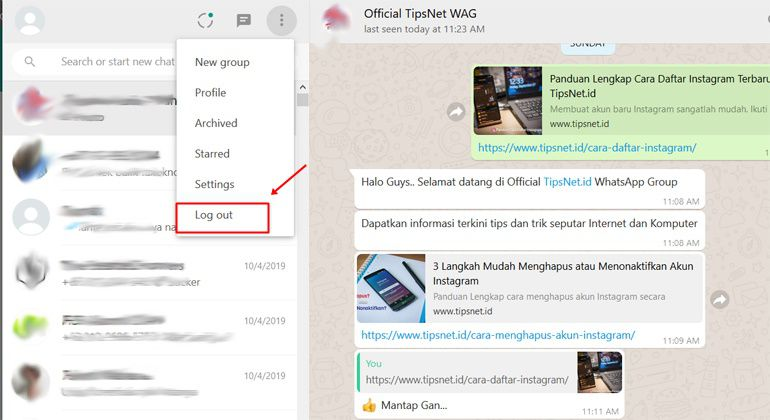 keluar whatsapp web di pc atau hp