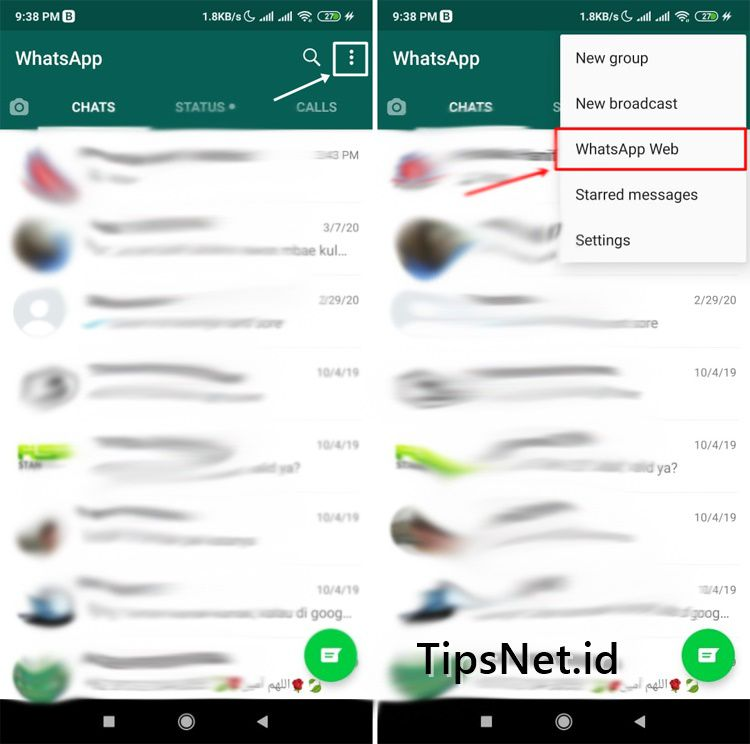 Menu WhatsApp Web di Aplikasi